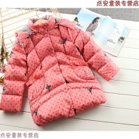 冬季女童厚实羽绒服中大童棉衣外套儿童羽绒衣服中长款暖