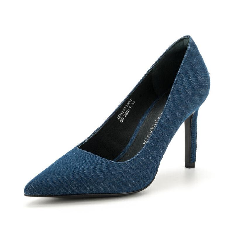 迪芙斯(D:FUSE) 专柜同款羊皮革尖头水钻装饰高跟单鞋 DF81111004