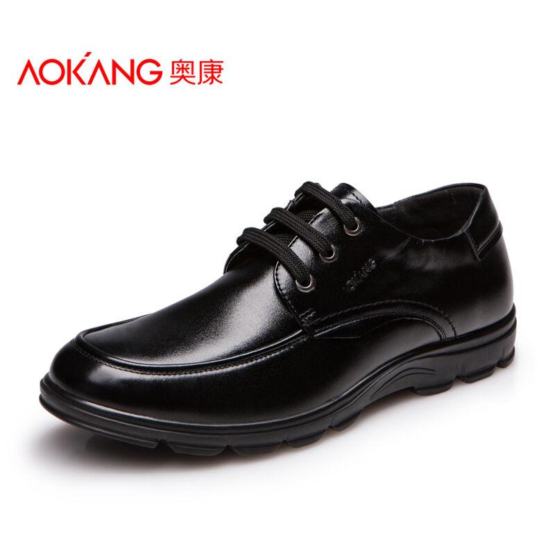 奥康男鞋新款男士皮鞋男英伦系带商务休闲鞋子春季透气