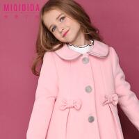 米奇丁当女童保暖中长款呢大衣新品冬装女童加厚纯色洋气外套