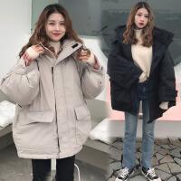 bf原宿风加厚工装加肥加大码200斤胖mm冬季韩版宽松棉衣外套