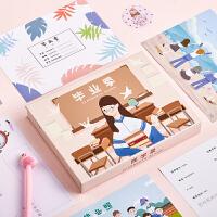 创意简约男女孩同学录小学生毕业女纪念册卡通男生女生留言册活页式回忆录韩版盒装通讯录搞怪个性