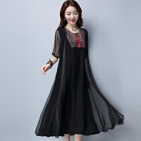 实拍 中国民族风女装夏季领花刺绣大码宽松假两件连衣裙长裙