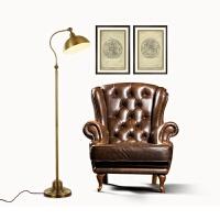 美式落地灯客厅仿古铜色全铜落地灯简约现代书房台灯