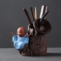 茶艺摆件创意紫砂黑檀六君子茶道茶具配件竹零配茶艺组合茶夹盘摆件