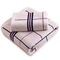 三利 家纺精梳棉系列缎档格纹方巾毛巾双条装