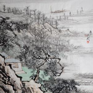 中国美术家协会会员 陈玉圃 国画《野渡》