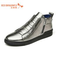 红蜻蜓男士真皮休闲高板板鞋英伦潮流高帮鞋休闲男鞋