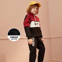 【2件3折:153.9】巴拉巴拉旗下巴帝巴帝19年新品中大童时尚撞色休闲运动男童套装