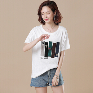 原创大码宽松休闲贴布刺绣白色短袖T恤上衣胖MM女夏装新款DS246-1860