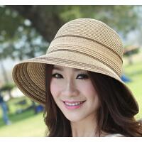 遮阳帽太阳渔夫沙滩帽女士夏天韩版可折解大沿防晒草帽