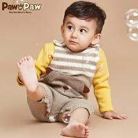 【2件2.5折 到手价:150】[加绒]Pawinpaw卡通小熊童装冬款男女宝宝针织背带裤毛线裤子