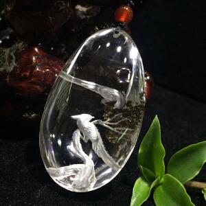 幽灵水晶内雕喜上眉梢挂坠配项链【BOO612】