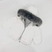 冬季儿童大毛领羽绒服加厚短款女童男童婴儿宝宝连帽狐狸毛外套