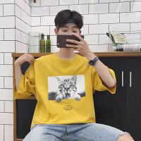 @小小骚年 2018春夏新款小猫图案印花男士宽松韩版圆领短袖T恤潮