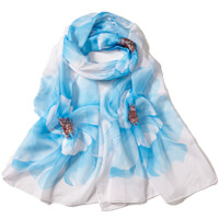 女士长款丝巾夏防晒披肩印花围巾纱巾春秋季