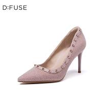 迪芙斯(D:FUSE)女鞋 2019春季专柜同款绒面羊皮革尖头细跟单鞋DF91111013