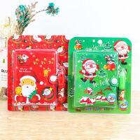 圣诞学生奖品笔记本套装 圣诞节可爱胶套笔记本+圆珠笔组合套装