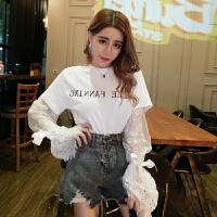 春季新款时尚甜美蕾丝袖拼接T恤假两件打底衫tee上衣女装