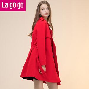 Lagogo2017新款春风衣女中长款女士薄款韩版秋季休闲风衣外套红色