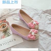韩版水钻女童皮鞋2018小女孩公主舞蹈表演礼服鞋儿童水晶鞋高跟鞋