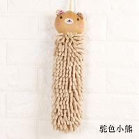 可爱雪尼尔擦手巾 卡通挂式擦手毛巾 厨房吸水擦手布 驼色 小熊 36x10cm