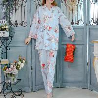 日式和风针织纯棉睡衣女秋可爱樱花和服甜美少女长裤家居服套装