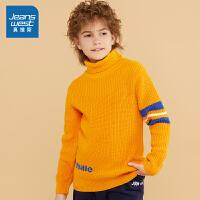 [3折到手价:100元,初春特惠,仅限2月16-17日]真维斯男童 2019冬季新款 棉混纺高反领提花长袖毛衣