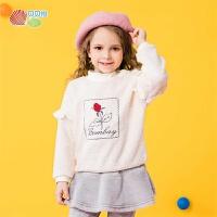 贝贝怡儿童套头卫衣女童上衣2020秋冬宝宝洋气韩版泰迪绒上衣