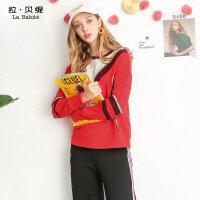 2018秋冬季新款韩版学生百搭宽松圆领长袖套头大红色卫衣加厚女