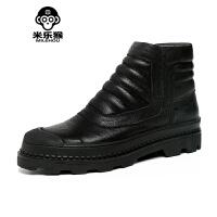 米乐猴 秋冬季新款布洛克高帮皮鞋男休闲鞋短筒靴子男马丁靴