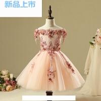 女童礼服一字肩长裙公主裙钢琴演出小主持人生日晚礼服演出服