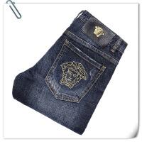 欧洲站男装破洞牛仔裤刺绣弹力修身小脚青年秋冬季新款长裤子