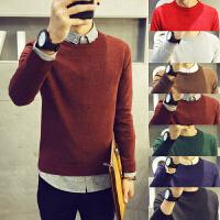 秋季薄款青年长袖针织衫潮流修身毛衣男纯色线衣韩版男装圆领线衫