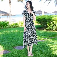 夏季新品女装气质修身短袖中长裙子雪纺连衣裙海边度假沙滩裙 图片色XZB666