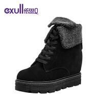 依思q冬季新款厚底内增高短靴子舒适帅气系带女鞋