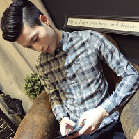 新款秋冬潮男小码修身格子衬衫S码发型师青年气质长袖衬衣矮个子