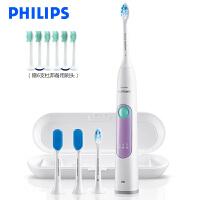 飞利浦(PHILIPS)电动牙刷HX6616 成人充电式牙龈护理型声波震动牙刷带舌苔清洁刷 浅紫色