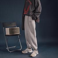 韩版学生休闲纯色运动长裤加厚加厚宽松收口卫裤男式保暖冬季裤子