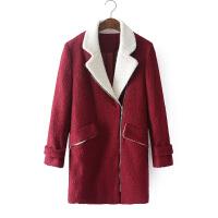 秋新韩版中长长袖茧型廓形时尚大翻领粗花羊毛毛呢外套0.82女