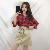 夏季新款韩版时尚复古格子防晒衬衫+高腰系带半身裙套装女两件套 红格衬衫+卡其裙 均码