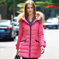 雅鹿保暖羽绒服女中长款 时尚修身貉子大毛领连帽冬装外套YO30530