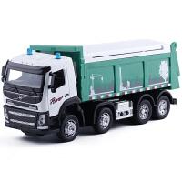 翻斗车垃圾车合金工程车模型声光版工程装卸卡车