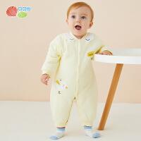贝贝怡新生儿婴儿衣服冬装新款女童加厚保暖连身衣洋气爬服194L280