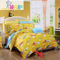 【暑期嗨购 1件5折】富安娜出品 酷奇智卡通动漫童趣四件套纯棉床单被套
