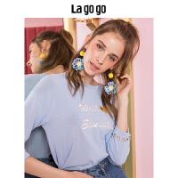 【清仓3折价107.7】Lagogo2019秋季新款女装低圆领绣花针织衫七分袖上衣HCMM318A21