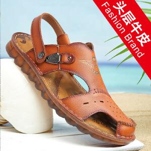 宜驰 EGCHI 凉鞋男式软面户外沙滩鞋牛筋底包头英伦洞洞凉拖鞋子潮 10072