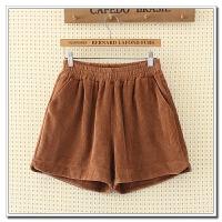 大码女装 秋季韩版修身松紧腰纯色灯芯绒加厚阔腿短裤