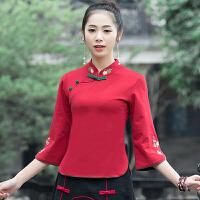 民族风上衣女春装新款中国风女装中袖立领修身上衣复古绣花打底衫