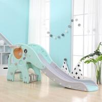 儿童室内滑梯宝宝滑梯家用玩具多功能折叠收纳小型滑梯 四只脚萌犸象裸配大滑梯【蓝】